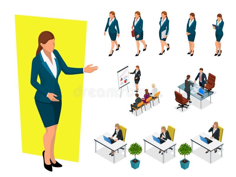 Donne eleganti isometriche di affari in vestiti convenzionali Guardaroba basso, codice di abbigliamento corporativo femminile Tra royalty illustrazione gratis