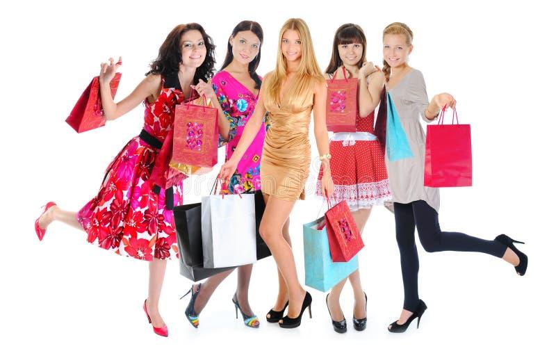 Donne felici di acquisto fotografia stock libera da diritti