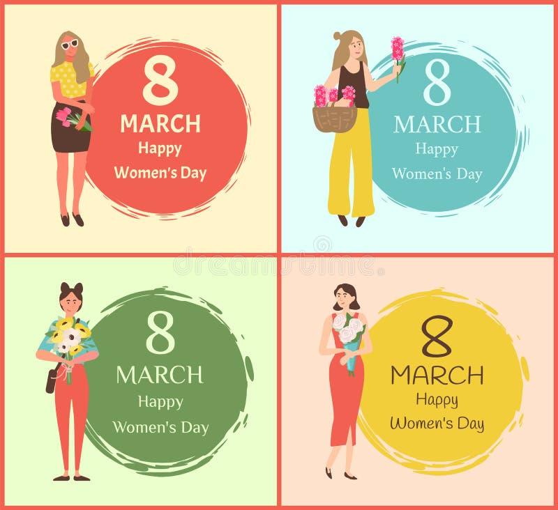Donne felici giorno cartoline d'auguri dell'8 marzo con le ragazze royalty illustrazione gratis