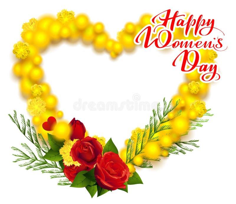 Donne felici giorno testo dell'8 marzo La mimosa e la rosa rossa gialle avvolgono la cartolina d'auguri di forma del cuore illustrazione vettoriale