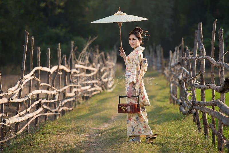 Donne giapponesi che portano kimono immagine stock libera da diritti