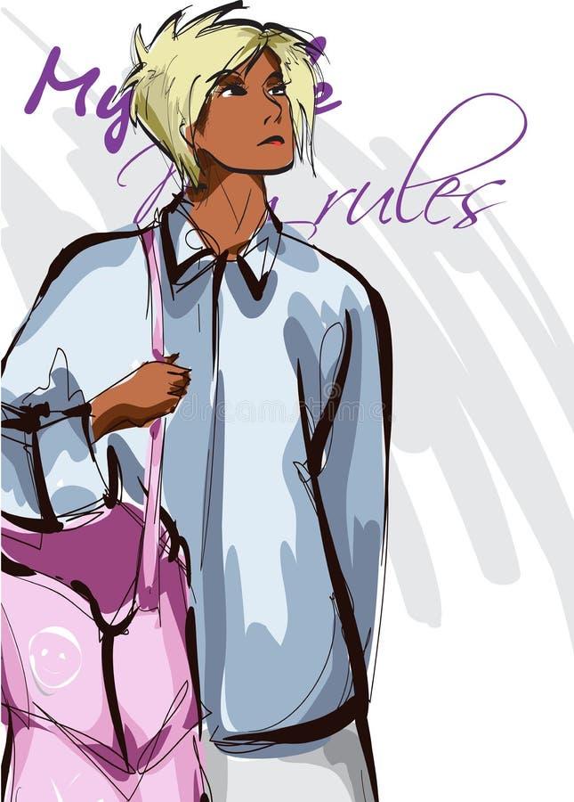 Donne graziose afroamericane in una camicia blu e con una borsa rosa Ragazza disegnata a mano di modo Posizione del modello di mo illustrazione di stock