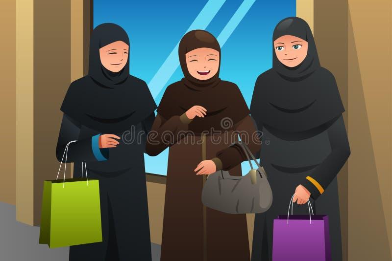 Donne musulmane che vanno a fare spese al centro commerciale royalty illustrazione gratis