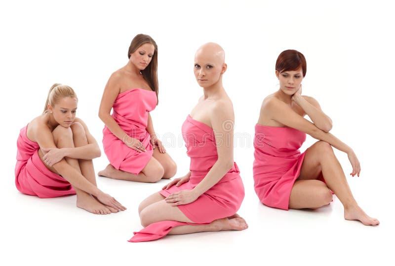 Donne nel rosa - cancro al seno Awereness fotografie stock libere da diritti