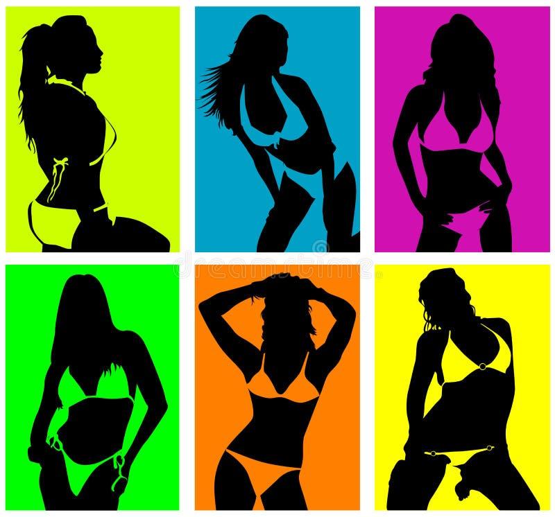 donne nel vettore del bikini illustrazione di stock