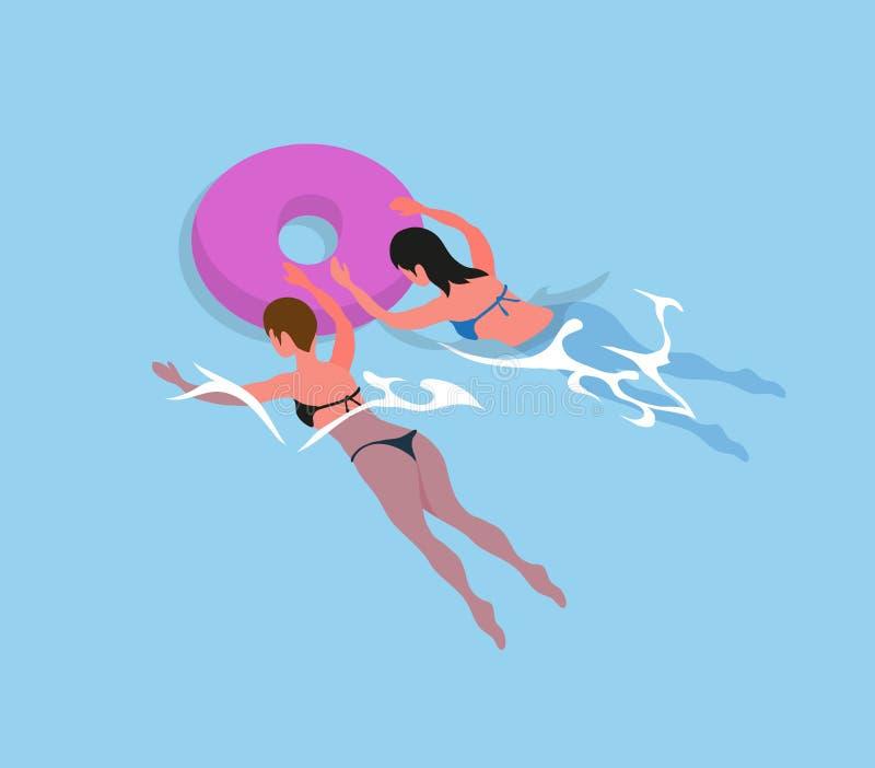 Donne nella nuotata del costume da bagno del bikini in anelli gonfiabili illustrazione di stock