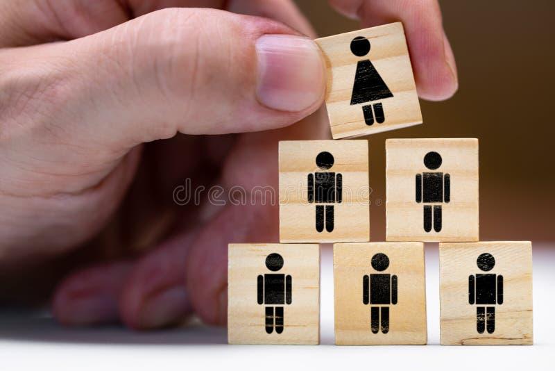 Donne nelle posizioni di leadership o nella promozione come donna immagine stock libera da diritti