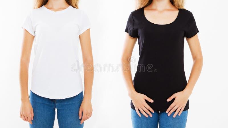 Donne potate del collage del ritratto in maglietta bianca e nera isolata su fondo bianco, modello, falso su, viste della parte po fotografia stock libera da diritti