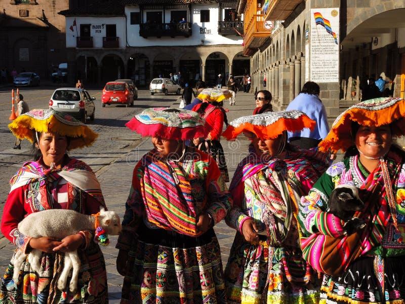 Donne quechue in Cusco, Perù immagini stock libere da diritti