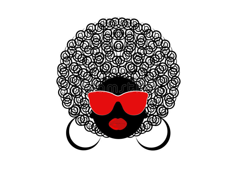 Donne ricce africane del ritratto, fronte femminile della pelle scura con l'afro dei capelli e vetri su fondo isolato illustrazione di stock