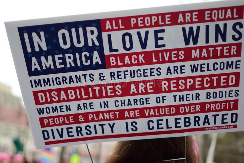 Donne ` s marzo 2017: Manifesto circa amore, uguaglianza e l'inclusione di diversità fotografia stock
