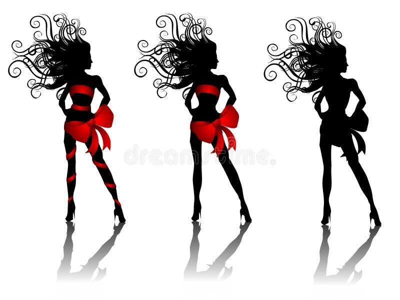 Donne sexy della siluetta che portano gli archi di colore rosso illustrazione vettoriale