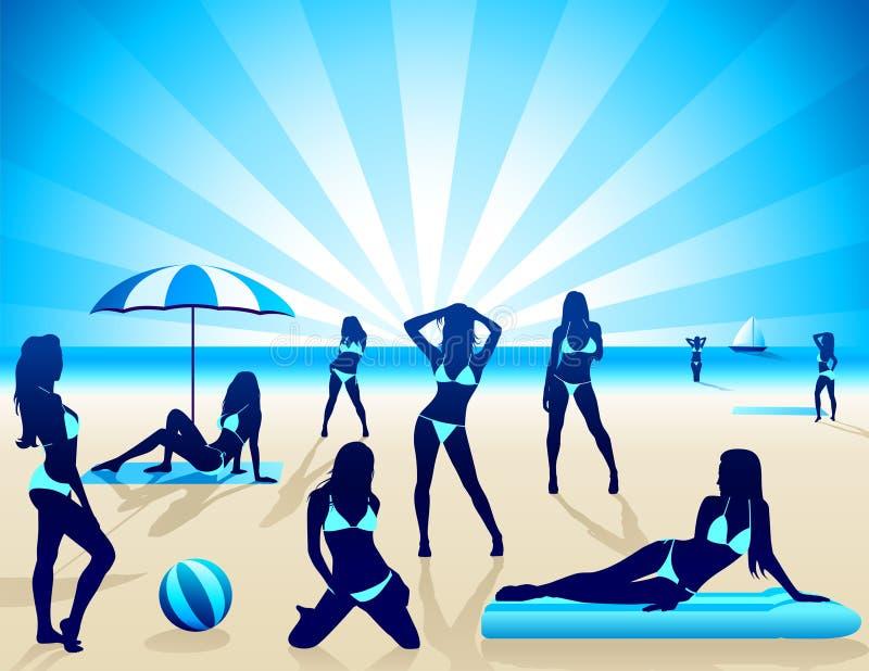 Donne sexy sulla spiaggia - vettore royalty illustrazione gratis