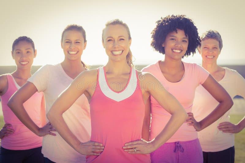 Donne sorridenti che indossano rosa per cancro al seno e posare immagini stock libere da diritti