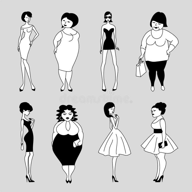 Donne sottili e grasse royalty illustrazione gratis