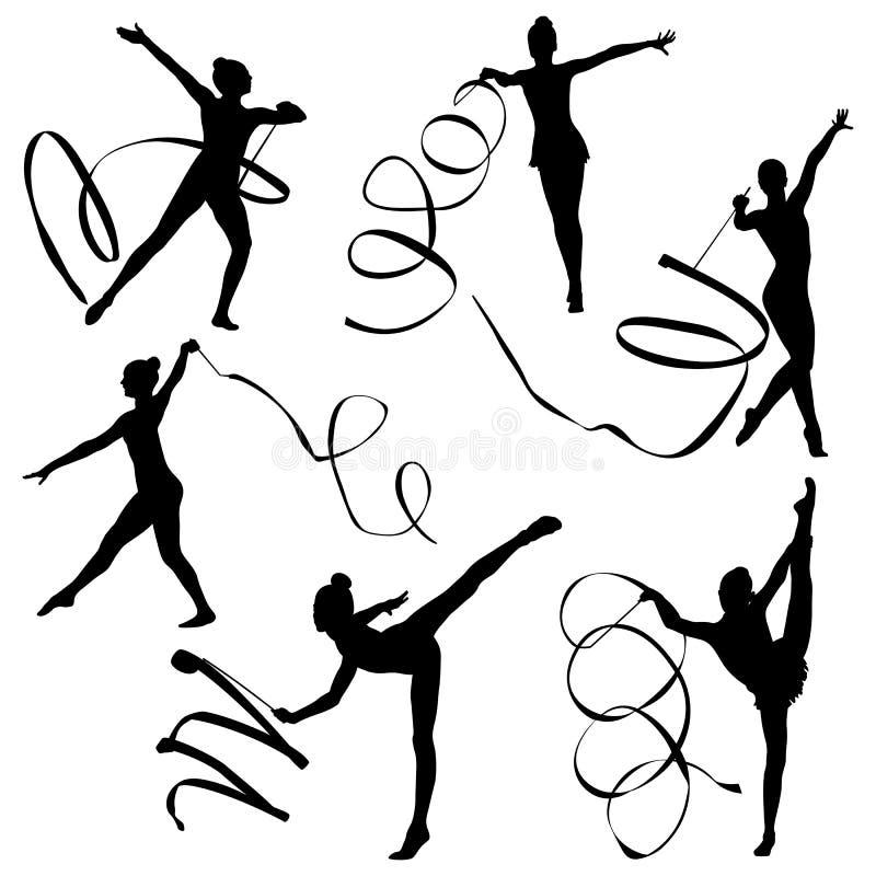 Donne stabilite di ginnastica ritmica royalty illustrazione gratis