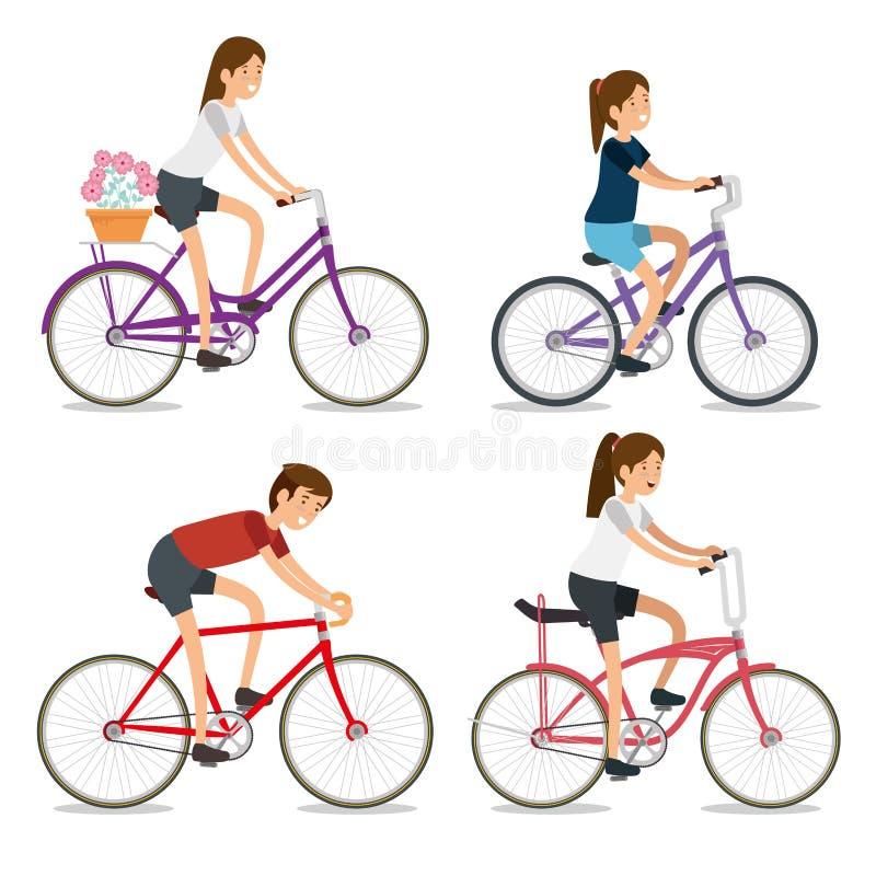 Donne stabilite e sport della bicicletta di giro dell'uomo royalty illustrazione gratis