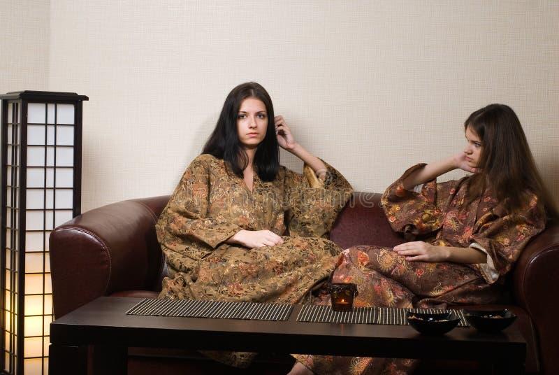 Donne in stazione termale giapponese fotografie stock libere da diritti