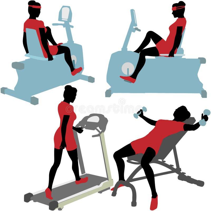 Donne sulle macchine di esercitazione di forma fisica di ginnastica illustrazione di stock