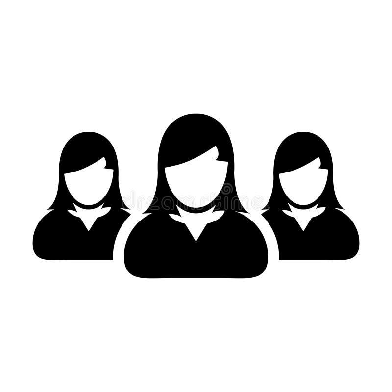Donne Team Icon Vector User Group dell'illustrazione del pittogramma della gente royalty illustrazione gratis