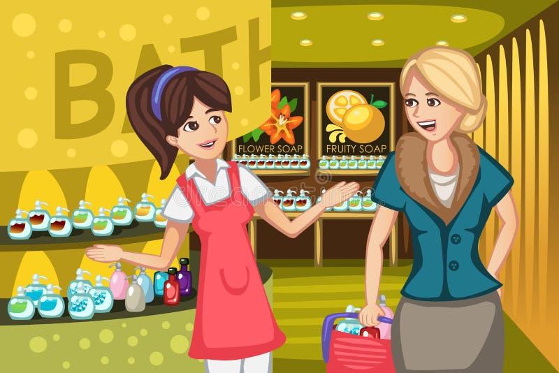 Donne in un deposito del sapone illustrazione di stock