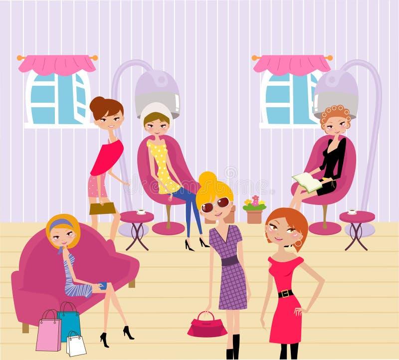 Donne in un salone di bellezza che ottiene un'acconciatura e un mA illustrazione di stock