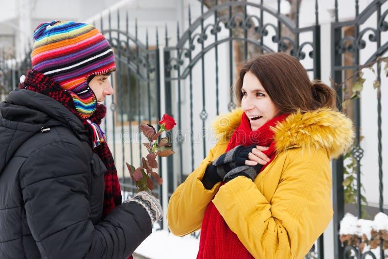 Donne une rose en hiver photo stock