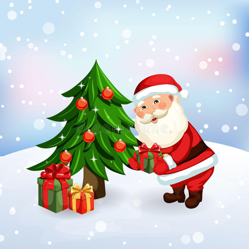 Donner de Santa Claus présents illustration stock