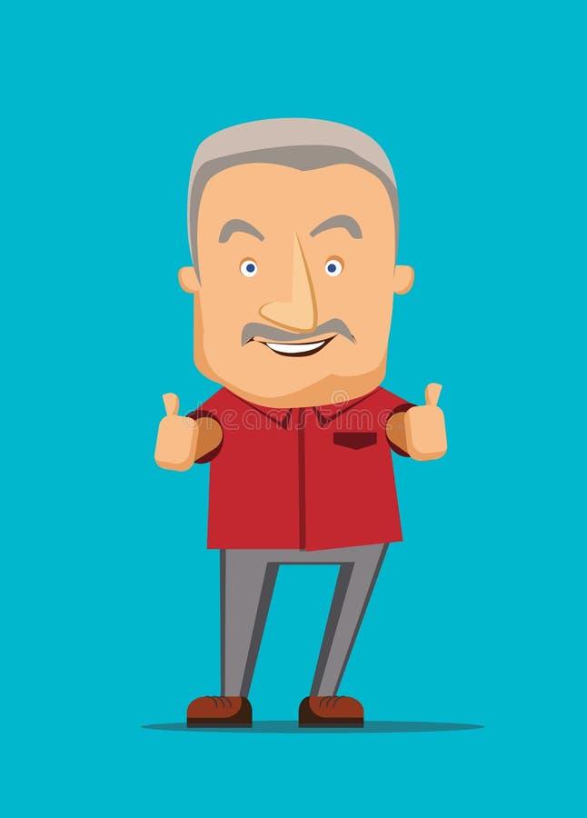 Donner de vieil homme des pouces lèvent l'illustration illustration stock
