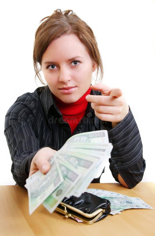Donner l'argent photo stock