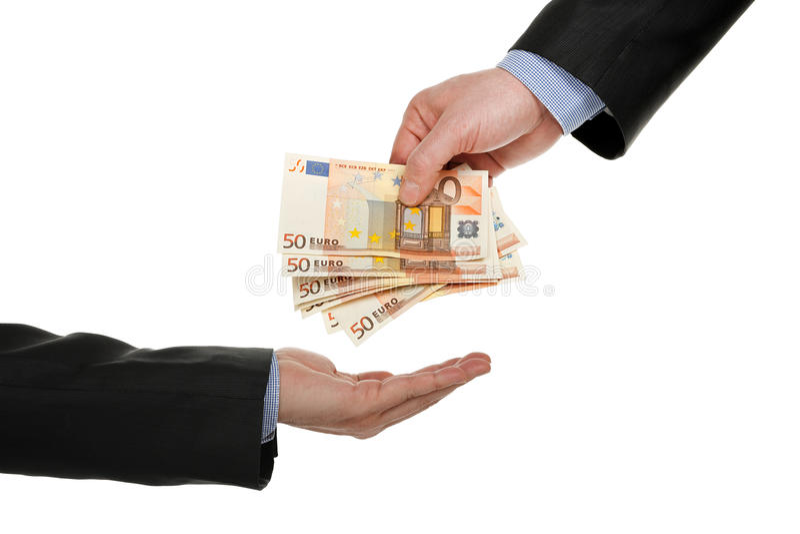 Donner l'argent photo libre de droits