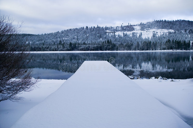 Donner Lake Pier in Winter royalty free stock image