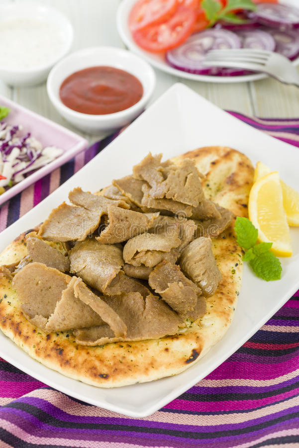 Download Donner Meat on Naan stock image. Image of coriander, plate - 31971269