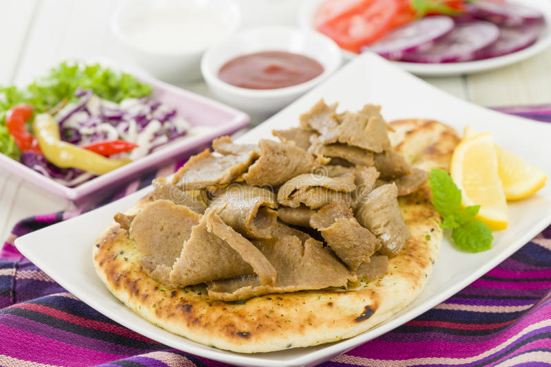 Download Donner Meat on Naan stock photo. Image of flat, dish - 31971450