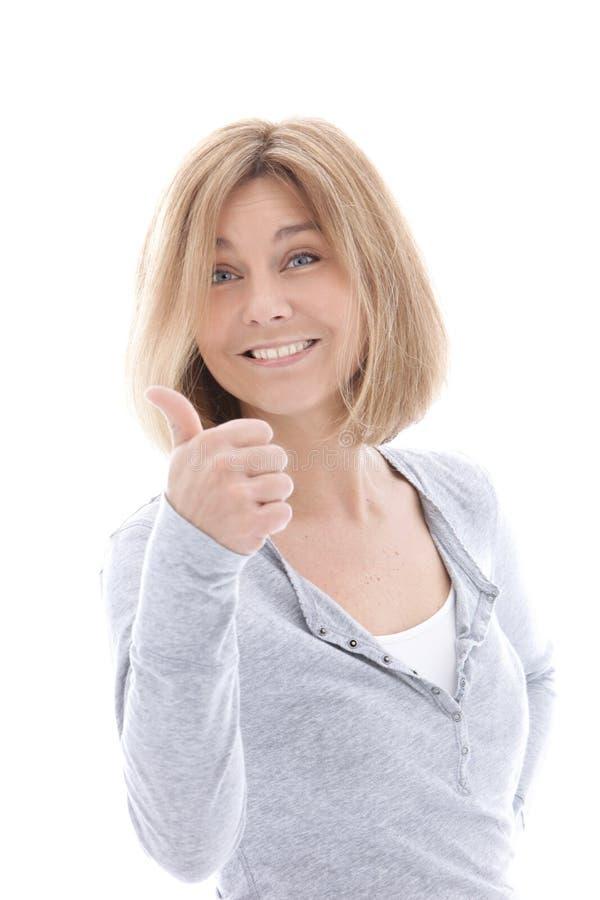 Donner occasionnel heureux de femme pouces  photos libres de droits