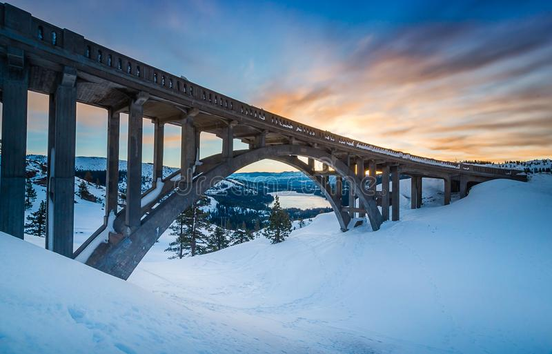 Donner Pass Summit at dawn royalty free stock images
