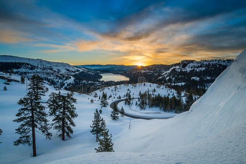 Donner Pass Summit at dawn royalty free stock photography