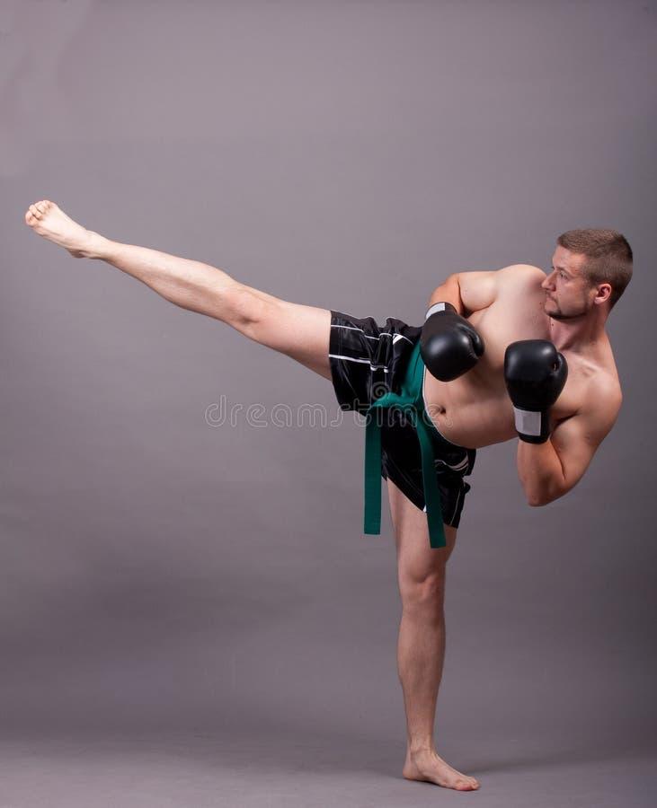 Donner un coup de pied-boxeur image libre de droits