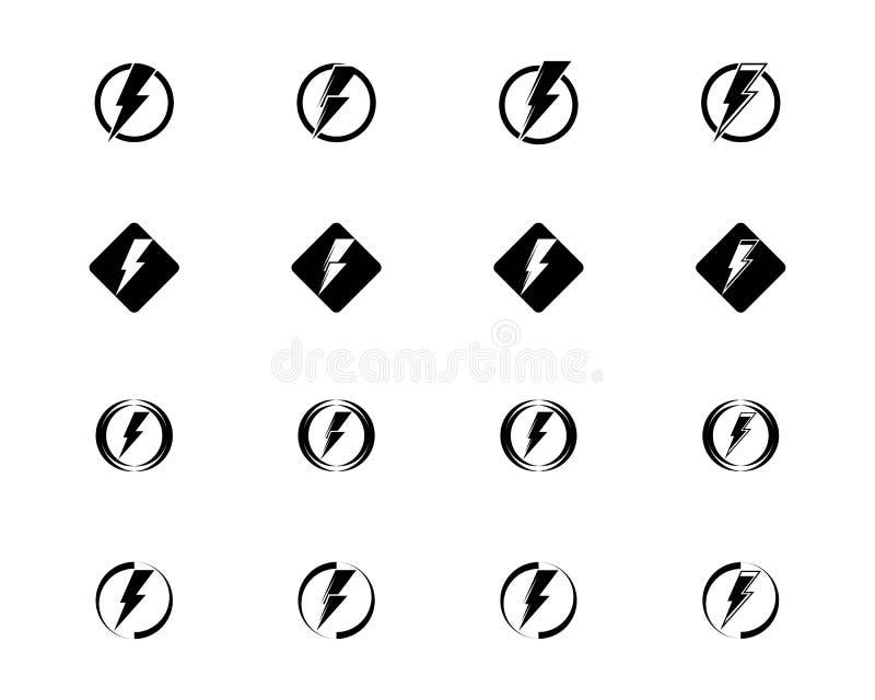 Donner-und Bolzen-Beleuchtungs-Blitz-Ikonen eingestellt Flache Art auf dunklem Vektor lizenzfreie abbildung