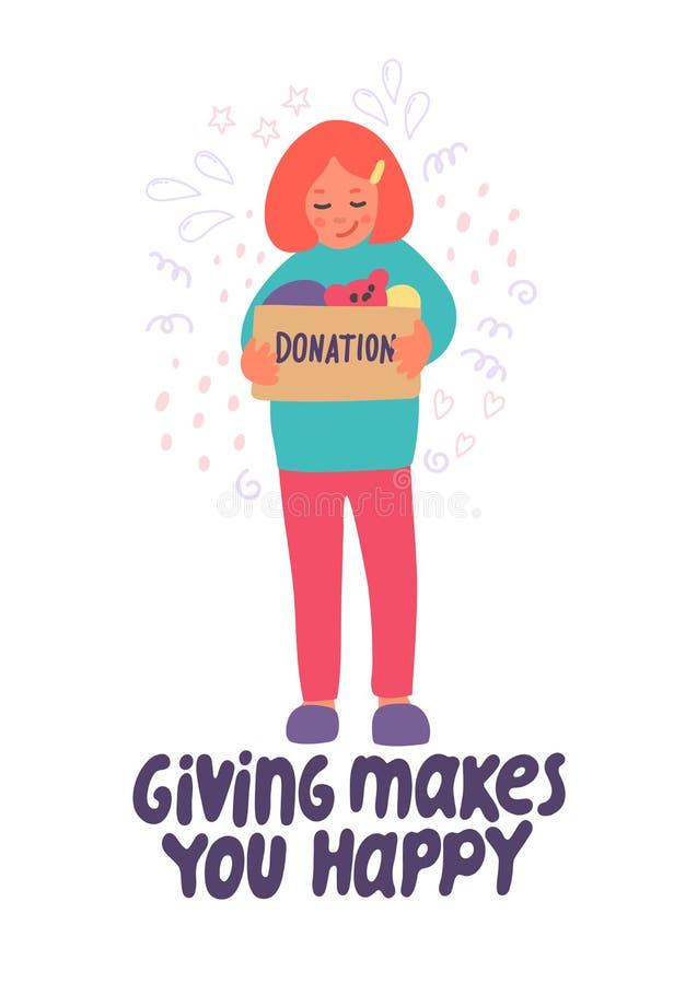 Donner vous rend heureux Donation de v?tements illustration libre de droits