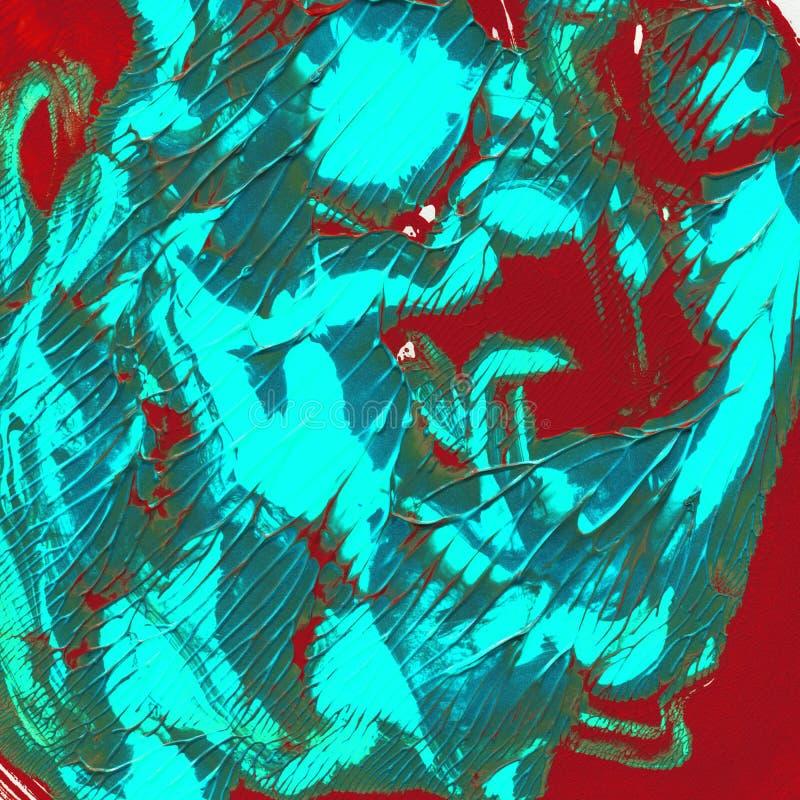 Donnez à la turquoise une consistance rugueuse acrylique, belles taches sur le rouge photo stock