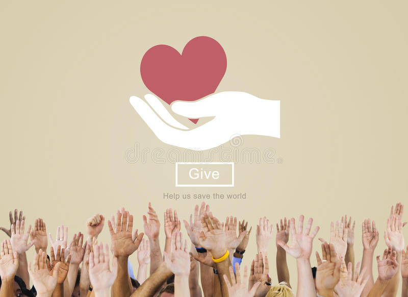Donnez l'aide de soin svp pour soutenir donnent le concept de charité image libre de droits
