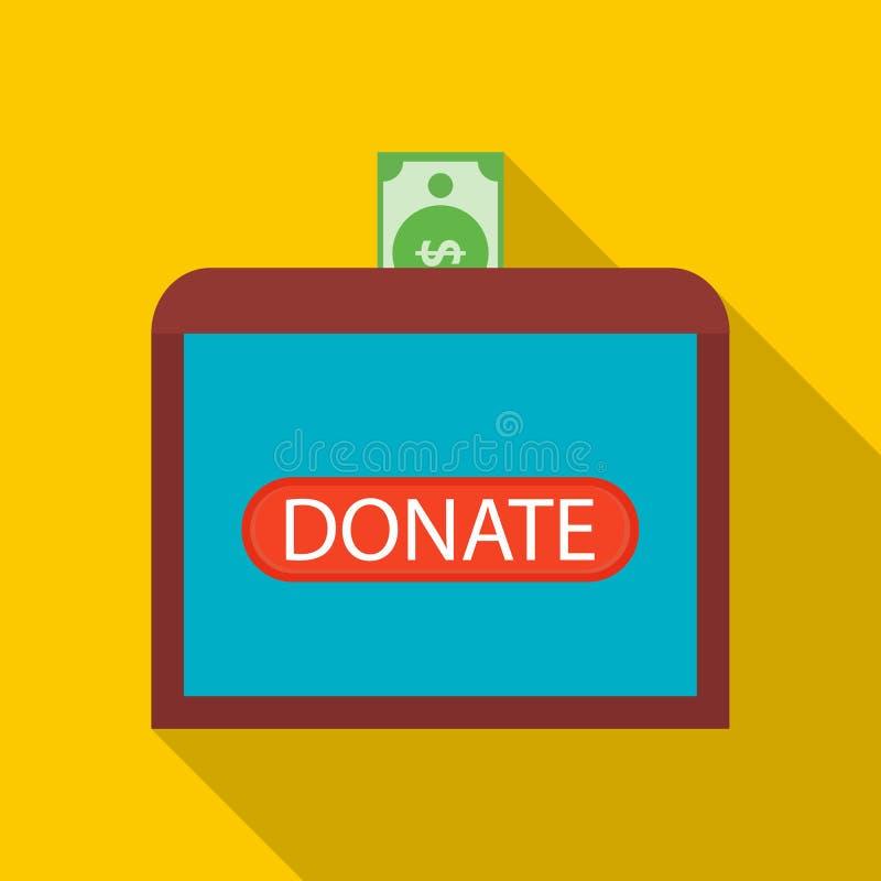 Donnez l'argent à l'icône en difficulté d'enfants, style plat illustration libre de droits