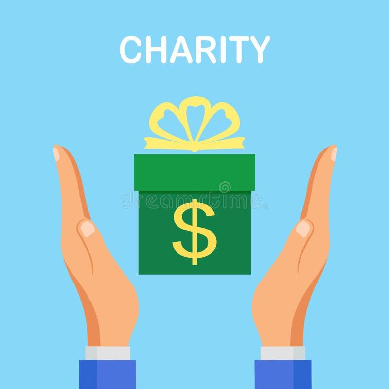 Donnez l'argent au concept de charité Pot de donation, boîte d'isolement sur le fond Billet d'un dollar humain de prise de main,  illustration stock