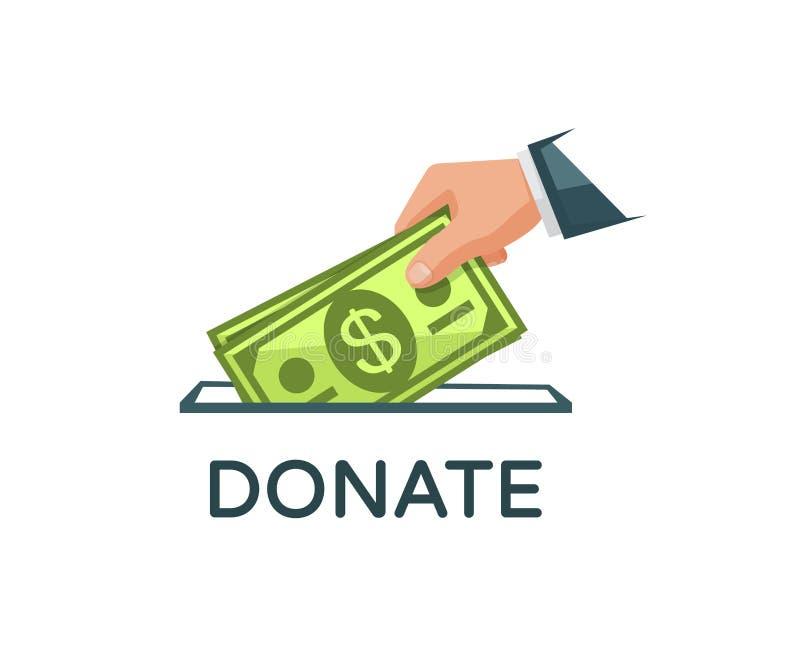 Donnez l'argent et le concept de charit? La main est mise des billets de banque dans une boîte de donation Illustration de vecteu illustration libre de droits