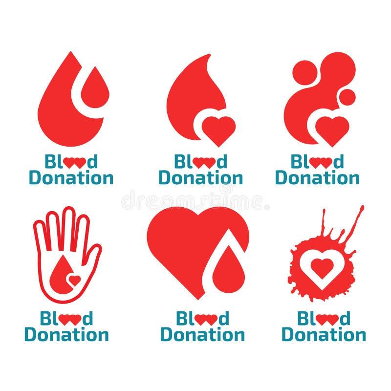Donnez l'ensemble de logo de sang illustration libre de droits