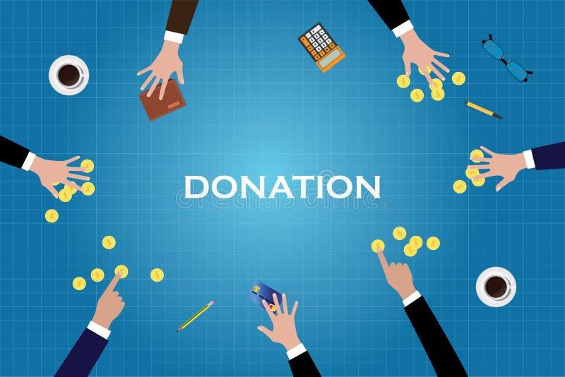 Donnez la donation donnent la pièce d'or d'argent de personnes d'aide illustration stock