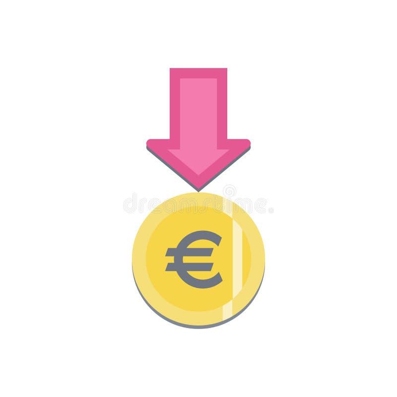 Donnez le bouton avec l'euro signe illustration de vecteur