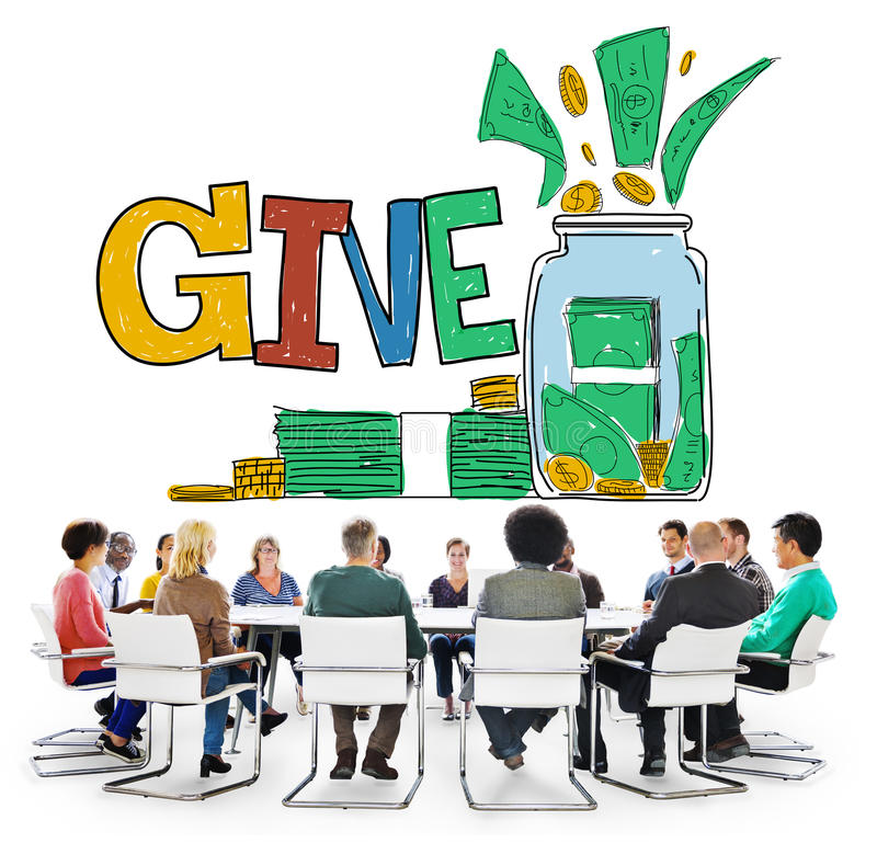 Donnez le concept de volontaire de charité de donation d'aide photos libres de droits