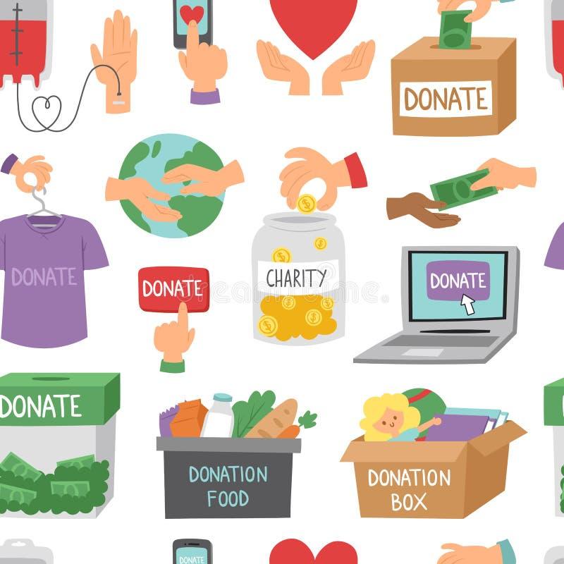 Donnez le fond sans couture de modèle d'ensemble d'argent d'icônes d'aide de symboles de donation d'humanité de vecteur réglé de  illustration stock